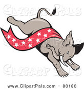 Clipart of a Republican Elephant with a Star Banner by Patrimonio