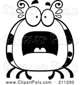 Clipart of a Scared Ladybug - White and Black Cartoon Version by Cory Thoman