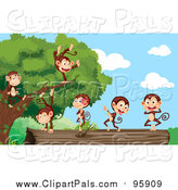 Clipart of Cute Monkeys Dancing Dead Tree on the Ground - Cartoon Style by Graphics RF