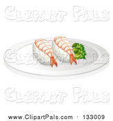 Clipart of Sushi Shrimp on Plate with Decorative Green Plant by Graphics RF