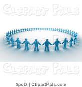 Pal Clipart of 3d Paper People Holding Hands in a Circle by 3poD