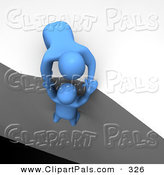 Pal Clipart of a 3d Blue Man Character Pulling Another over the Ledge of a Cliff by Jiri Moucka
