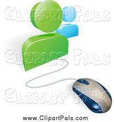 Pal Clipart of a 3d Computer Mouse Wired to Social Network Avatars by AtStockIllustration