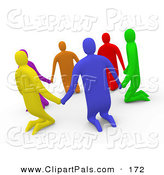 Pal Clipart of a 3d Diverse People Kneeling and Holding Hands in a Circle on White by 3poD