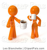Pal Clipart of a 3d Orange Couple Drinking Coffee by Leo Blanchette