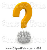 Pal Clipart of a 3d Orange Question Mark Above a Circle of Blanco People by Jiri Moucka