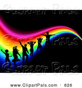 Pal Clipart of a Background of Silhouetted Dancers in a Club over a Wavy Rainbow on Black by KJ Pargeter