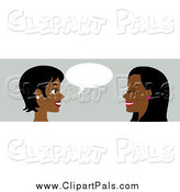 Pal Clipart of a Banner of Two Black Women Conversating by Rosie Piter