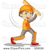 Pal Clipart of a Batting Boy Playing Cricket by Graphics RF