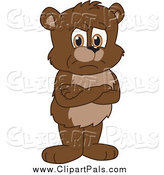 Pal Clipart of a Bear Cub Standing Grumpily with His Arms Crossed by Toons4Biz