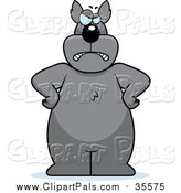 Pal Clipart of a Big Gray Wolf Standing on His Hind Legs with His Hands on His Hips by Cory Thoman