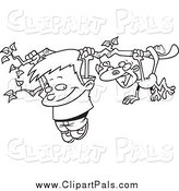 Pal Clipart of a Black and White Boy and a Monkey Hanging from a Tree Branch by Toonaday