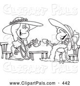 Pal Clipart of a Black and White Coloring Page Outline Design of Happy Girls Playing Dress up at Tea Time by Toonaday