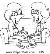 Pal Clipart of a Black and White Coloring Page Outline Design of Two Talkative Women Sitting on a Sofa by Toonaday