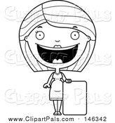 Pal Clipart of a Black and White Lineart Happy Pregnant Woman by a Sign by Cory Thoman