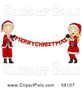 Pal Clipart of a Blond White Christmas Boy and Girl Holding a Merry Christmas Banner by BNP Design Studio