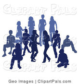 Pal Clipart of a Blue Group of Silhouetted People Standing Together in a Crowd by AtStockIllustration