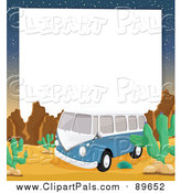 Pal Clipart of a Blue VW Kombi Van in a Desert Border by Graphics RF