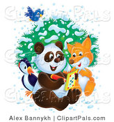 Pal Clipart of a Bluebird Flying over a Penguin, Fox and Panda As They Write in an Activity Book on a Wintry Day by Alex Bannykh