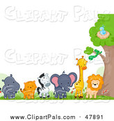 Pal Clipart of a Border of Zoo Animals by a Tree by BNP Design Studio