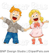 Pal Clipart of a Boy and Girl Shouting and Holding Hands by BNP Design Studio