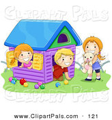Pal Clipart of a Boy and Two Girls Playing in a Toy House on Grass by BNP Design Studio