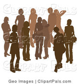 Pal Clipart of a Brown Group of Silhouetted People Hanging out in a Crowd, Two Friends Hugging in the Middle by AtStockIllustration