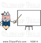 Pal Clipart of a Business Pencil Mascot Pointing to a White Board by Hit Toon