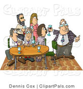Pal Clipart of a Businessman Showing up Late to a Party with Coworkers by Djart