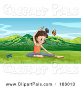 Pal Clipart of a Butterflies Around a Girl Doing Yoga in a Spring Valley by Graphics RF