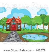 Pal Clipart of a Cabin and Pond with a Stone Path by Graphics RF