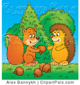Pal Clipart of a Caring Squirrel Sharing Acorns with a Hedgehog in the Forest by Alex Bannykh