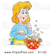 Pal Clipart of a Cartoon Blond Caucasian Woman Cooking Soup by Alex Bannykh