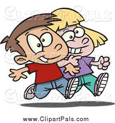 Pal Clipart of a Cartoon Happy Boy and Girl Walking Arm in Arm by Toonaday