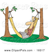 Pal Clipart of a Cartoon Retired White Man Napping in a Hammock with a Newspaper by Toonaday