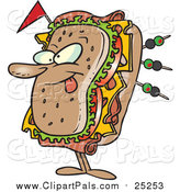Pal Clipart of a Cartoon Sandwich Character Sticking His Tongue out by Toonaday