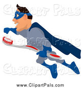Pal Clipart of a Cartoon White Blue Male Super Hero Flying to the Left with a Toothbrush by Julos