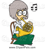 Pal Clipart of a Cartoon White Woman Playing a French Horn by Toonaday