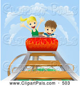 Pal Clipart of a Caucasian Boy and Girl Riding a Roller Coaster Ride by AtStockIllustration