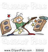 Pal Clipart of a Caucasian Guy Rocking out with a Guitar by Speakers by Gnurf