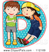 Pal Clipart of a Children Posing on the Letter D by Graphics RF