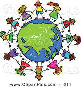 Pal Clipart of a Childs Sketch of Children Holding Hands Around a Globe Centered on Asia by Prawny