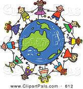 Pal Clipart of a Childs Sketch of Children Holding Hands Around a Green Australian Globe by Prawny