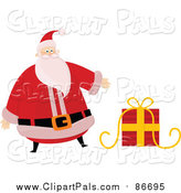 Pal Clipart of a Christmas Santa Claus Presenting a Gift by Lineartestpilot