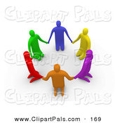 Pal Clipart of a Circle of 3d Colorful People on Their Knees in a Circle by 3poD