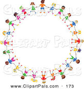 Pal Clipart of a Circle of Diverse Stick Figure Children by Prawny
