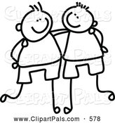 Pal Clipart of a Coloring Page Childs Sketch of Black and White Boys with Their Arms Around Each Other by Prawny