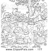 Pal Clipart of a Coloring Page Outline Design of Friends Gathered Around a Tree by Alex Bannykh
