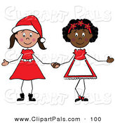 Pal Clipart of a Couple of Christmas Stick Girls Holding Hands by Pams Clipart