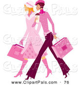 Pal Clipart of a Couple of Stylish Ladies in Pink, Walking and Carrying Shopping Bags by Monica
